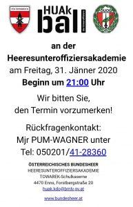 Ball der Heeres Unteroffiziers 21. Jänner 2020 Akademie Towarek Kaserne Enns