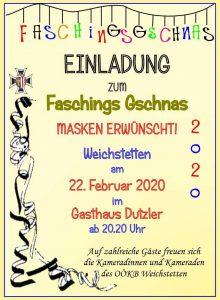 Faschings Gschnas OÖKB Weichstetten 22. Februar 2020 Gasthaus Dutzler